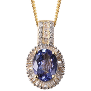 Tanzanite & Diamond Necklace in Yellow Gold over Sterling Silver Gemstone Collectors U.S.