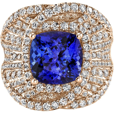 Tanzanite & Diamond Ring in 14K Rose Gold Gemstone Collectors U.S.
