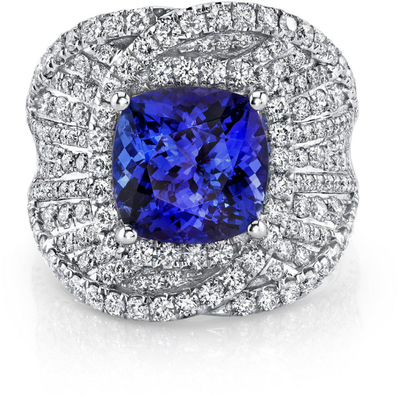Tanzanite & Diamond Ring in 14K White Gold Gemstone Collectors U.S.