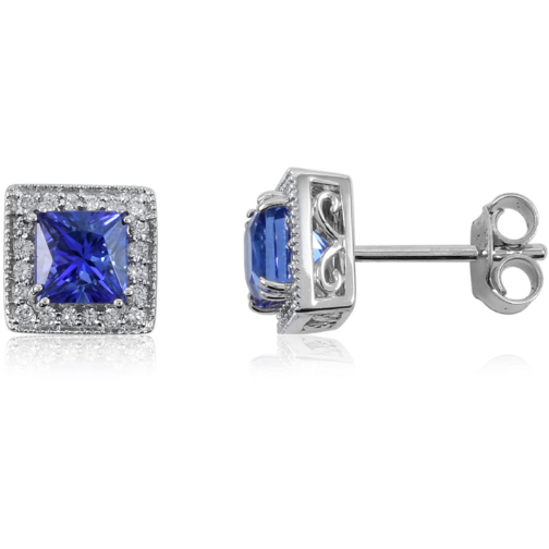 Tanzanite & Diamond Square Halo Earrings in 18K White Gold 1.91g Gemstone Collectors U.S.