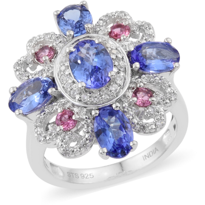 Tanzanite & Multi Gemstone Cluster Ring in Platinum over Sterling Silver Gemstone Collectors U.S.