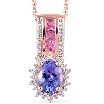 "Tanzanite & Multi Gemstone Pendant Necklace 20"" in Rose Gold Over Sterling Silver Gemstone Collectors U.S."