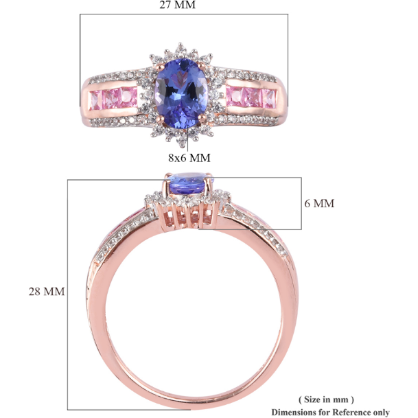 Tanzanite & Multi Gemstone Rose Gold over Sterling Silver Ring Gemstone Collectors U.S.