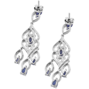 Tanzanite & White Zircon Dangle Earrings in Platinum over Sterling Silver Gemstone Collectors U.S.