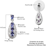 Tanzanite & Zircon Dangle Earrings in Platinum over Sterling Silver Gemstone Collectors U.S.