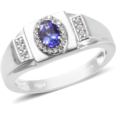 Tanzanite & Zircon Men's Ring in Platinum over Sterling Silver Gemstone Collectors U.S.
