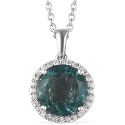 Teal Fluorite & White Zircon Halo Necklace in Platinum over Sterling Silver Gemstone Collectors U.S.