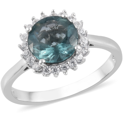 Teal Fluorite & White Zircon Ring in Platinum over Sterling Silver Gemstone Collectors U.S.