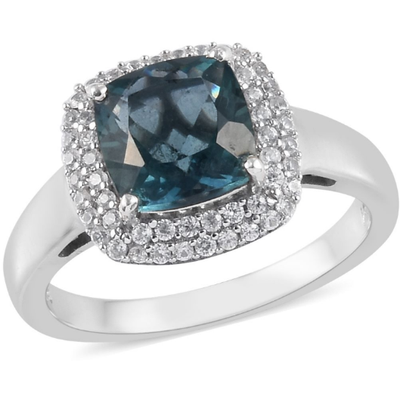 Teal Fluorite & Zircon Halo Ring in Platinum over Sterling Silver Gemstone Collectors U.S.