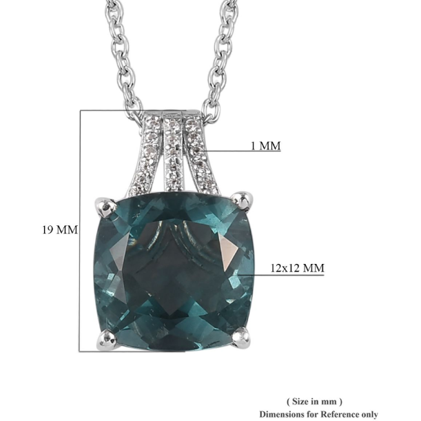 "Teal Fluorite & Zircon Pendant Necklace 20"" in Platinum over Sterling Silver Gemstone Collectors U.S."