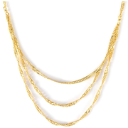 "Three Strand Singapore Chain 18"" in solid 10K Yellow Gold Gemstone Collectors U.S."