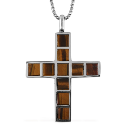Tiger Eye Men's Cross Pendant Necklace 24 Inch in Stainless Steel Gemstone Collectors U.S.