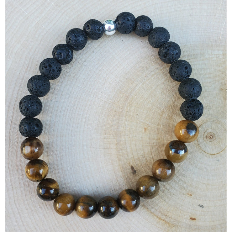 Tigers Eye and Lava Mens Bracelet Mindful Creations by Gloria