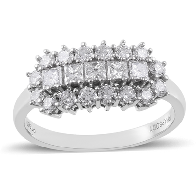 Triple Row Diamond Cluster Ring in Platinum 1.00ctw Gemstone Collectors U.S.