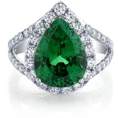 Tsavorite Garnet & Diamond 14k White Gold Halo Ring Gemstone Collectors U.S.