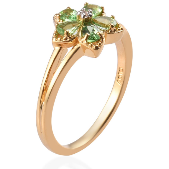 Tsavorite Garnet & White Zircon Floral Ring in Yellow Gold over Sterling Silver Gemstone Collectors U.S.