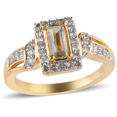 Turkizite & Zircon Ring in 14K Yellow Gold over Sterling Silver Gemstone Collectors U.S.