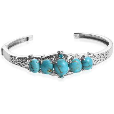 "Turquoise & Neon Apatite Cuff Bracelet in Platinum over Sterling Silver (7.25"") Gemstone Collectors U.S."