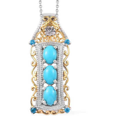 Turquoise & Neon Apatite Pendant Necklace in Yellow Gold and Platinum over Sterling Silver Gemstone Collectors U.S.