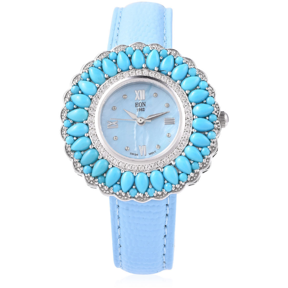 Turquoise & White Zircon EON 1962 Watch in Sterling Silver and Blue Genuine Leather Gemstone Collectors U.S.