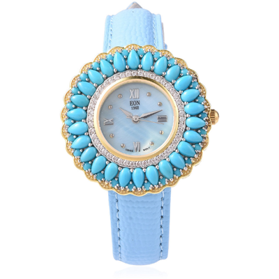 Turquoise & White Zircon EON 1962 Watch in Vermeil 14K Yellow Gold Over Sterling Silver and Blue Genuine Leather Gemstone Collectors U.S.