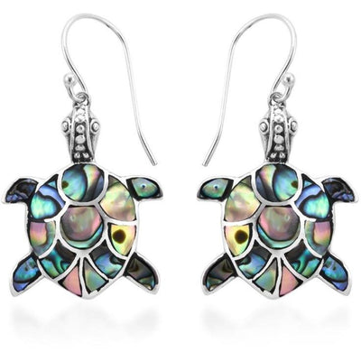 Turtle Abalone Shell Earrings in Sterling Silver Gemstone Collectors U.S.