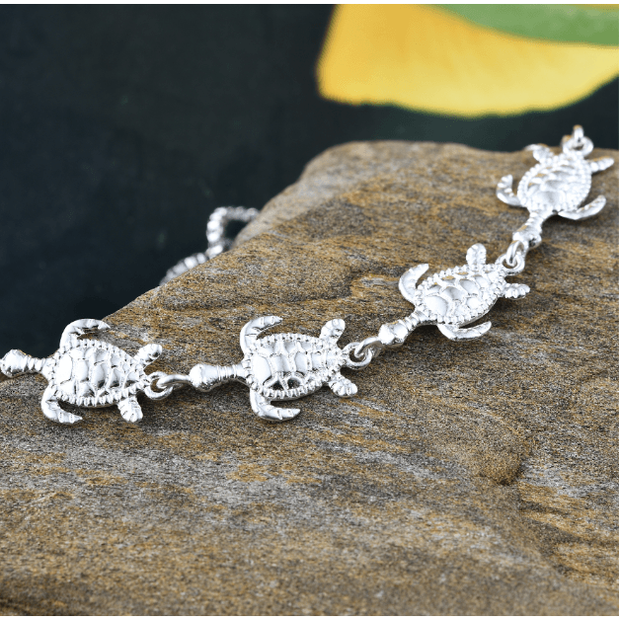 Turtle Bolo Bracelet in Platinum over 925 Sterling Silver & Surgical Grade Stainless Steel Gemstone Collectors U.S.