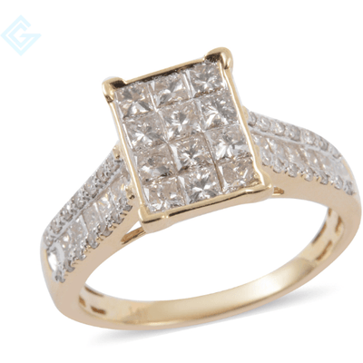 White Diamond Cluster Ring in Solid 14K Yellow Gold 1.00ctw. Gemstone Collectors U.S.