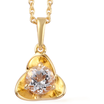 White Topaz Necklace in Vermeil 14K Yellow Gold over Sterling Silver Gemstone Collectors U.S.