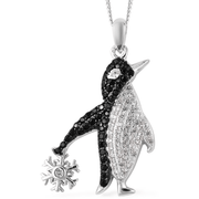 White Zircon & Black Spinel Penguin Necklace in Black Rhodium & Sterling Silver Gemstone Collectors U.S.