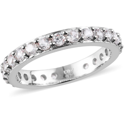 White Zircon Eternity Band Ring in Platinum over Sterling Silver Gemstone Collectors U.S.