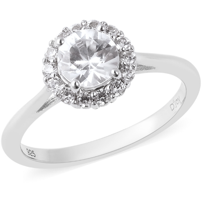 White Zircon Halo Ring in Platinum over Sterling Silver Gemstone Collectors U.S.