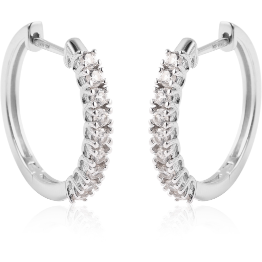 White Zircon Hoop Earrings in Platinum over Sterling Silver Gemstone Collectors U.S.
