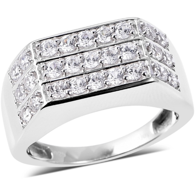 White Zircon Men's Ring in Platinum over Sterling Silver Gemstone Collectors U.S.