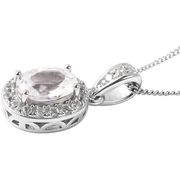 "White Zircon Oval Halo Pendant Necklace 18"" in Sterling Silver Gemstone Collectors U.S."