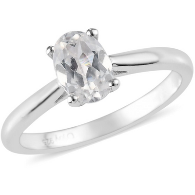 White Zircon Oval Solitiare Ring in Platinum over Sterling Silver Gemstone Collectors U.S.