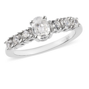 White Zircon Ring in Platinum over Sterling Silver Gemstone Collectors U.S.