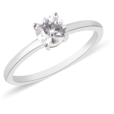 White Zircon Round Solitiaire Ring in Platinum over Sterling Silver Gemstone Collectors U.S.