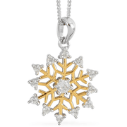 "White Zircon Snowflake Necklace (18"") in 14K Yellow Gold over Sterling Silver Gemstone Collectors U.S."