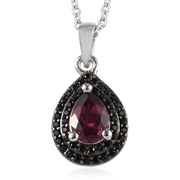 Wine Garnet & Black Spinel Necklace in Platinum over Sterling Silver Gemstone Collectors U.S.