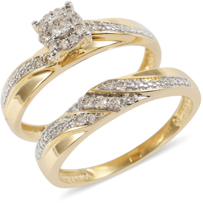 Women's Diamond Bridal Set in 10K Yellow Gold Gemstone Collectors U.S.