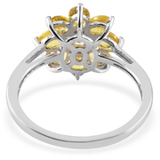 Yellow Sapphire Floral Cluster Ring in Platinum over Sterling Silver Gemstone Collectors U.S.