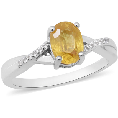 Yellow Sapphire & White Zircon Ring in Platinum over Sterling Silver Gemstone Collectors U.S.