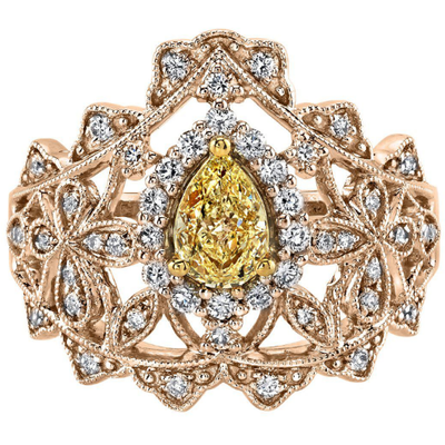 Yellow & White Diamond ring in 14K Rose Gold Gemstone Collectors U.S.