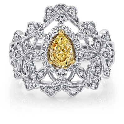 Yellow & White Diamond ring in 14K White Gold Gemstone Collectors U.S.