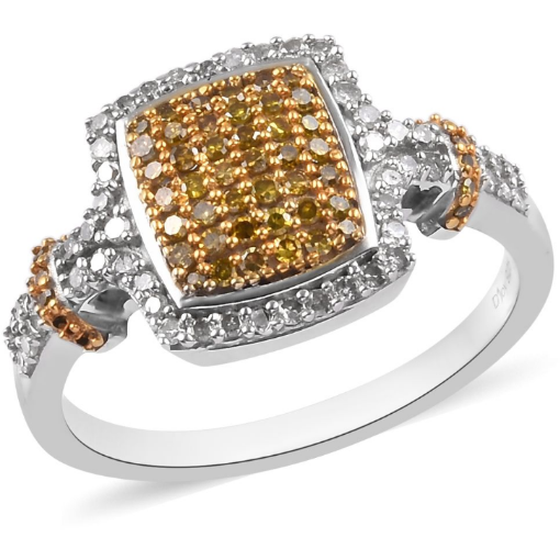 Yellow & White Diamond Ring in Rhodium and Platinum over Sterling Silver Gemstone Collectors U.S.