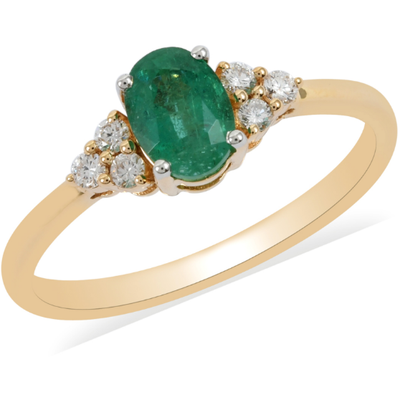 Zambian Emerald & Diamond Ring in 18K Yellow Gold Gemstone Collectors U.S.