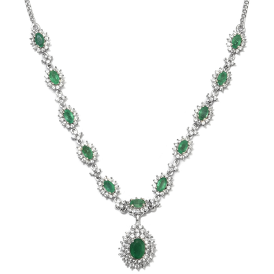 "Zambian Emerald & Zircon Necklace 18"" in Platinum over Sterling Silver Gemstone Collectors U.S."