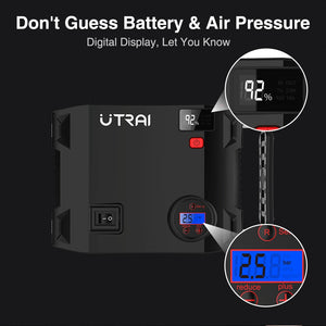 UTRAI Emergency Car Jump Starter 4-in-1 Air Compressor Pump 2000A 24000mAh