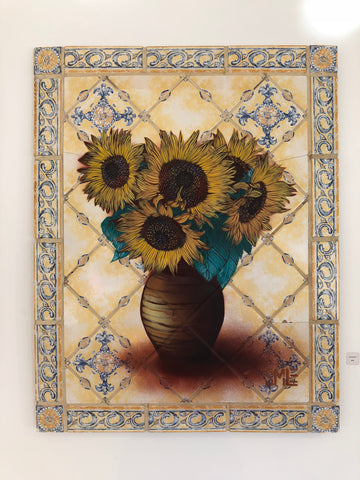 SMiLE Sunflowers on Vintage Tile